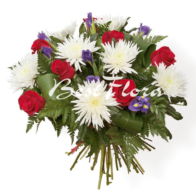 Букеты из одноголовых хризантем и роз фото